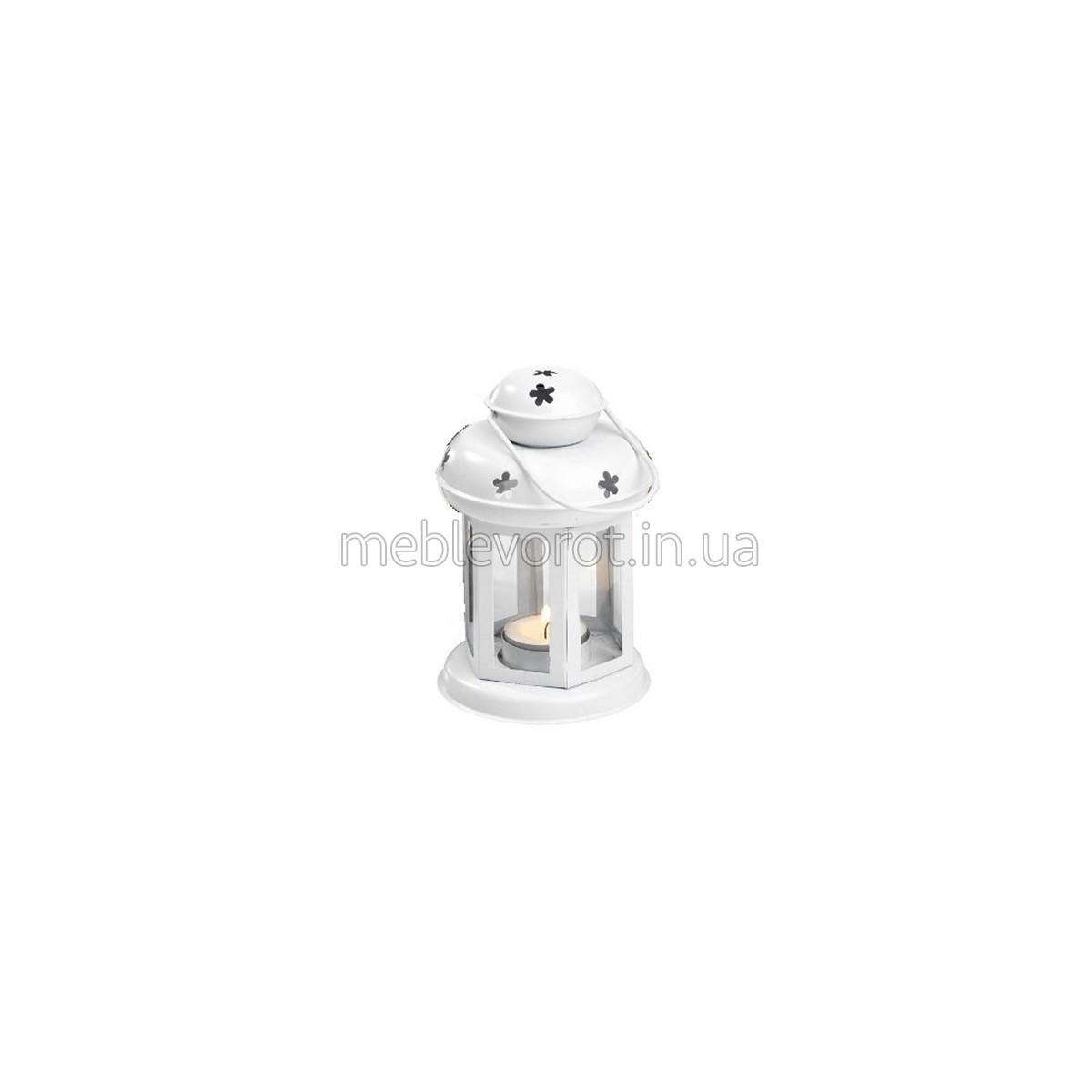 Декоративный фонарь со свечой белый (Аренда)